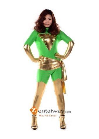 Green Spandex Shiny Metallic X men Phoenix Suphero Zentai [2013057] - $49.00 : zentaiway.com | Amazing X-men Costumes | Scoop.it
