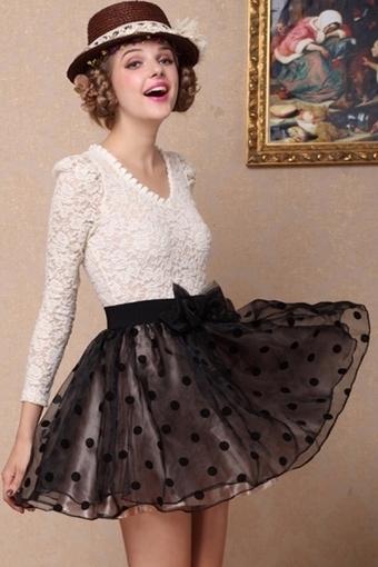 Floral Detailed Lace Top Bubble Dress - OASAP.com | Online Fashion | Scoop.it
