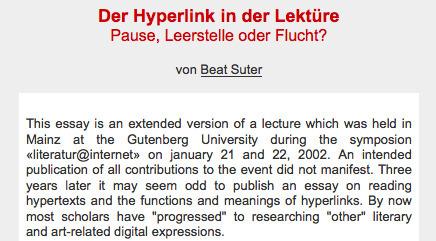 Beat Suter: Der Hyperlink in der Lektüre: Pause, Leerstelle oder Flucht? | Netzliteratur | Scoop.it