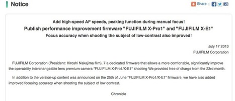 More details about the new X-PRO1 and X-E1 firmware on July 23. | Fuji Rumors | Fuji X-Pro1 and XF Lenses | Scoop.it