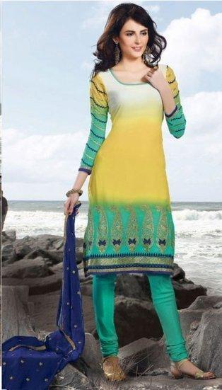 Yellow Color Faux Georgette Bollywood Churidar Salwar Kameez | chudidhar | Scoop.it