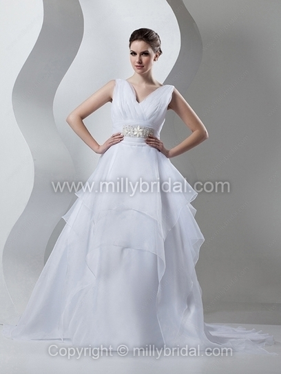 Ball Gown V-neck Organza Court Train Tiered Wedding Dresses - www.millybridal.com | wedding and event | Scoop.it