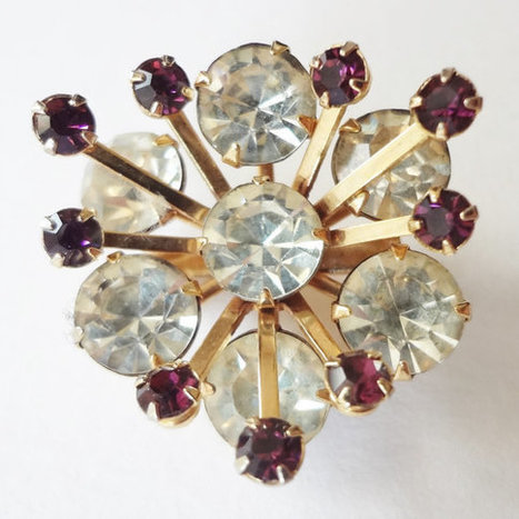 Purple and Clear Rhinestone Brooch, Vintage Atomic Star Burst Floral | Vintage Jewelry and Fashions | Scoop.it