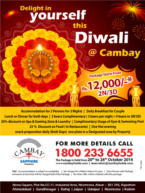 Planning your upcoming #Diwali #Holidays #Tour with #Cambay #Sapphire, #Neemrana. | Cambay Hotels & Resorts | Scoop.it