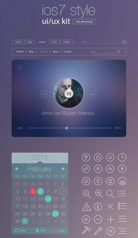 Ressources : Un kit UI/UX iOS 7 gratuit à télécharger - #Olybop | Web Increase | Scoop.it