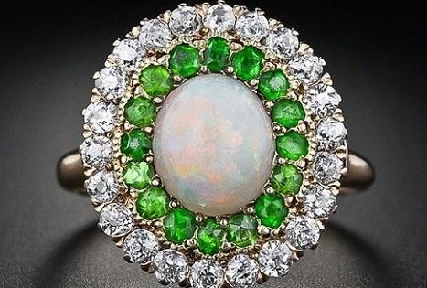 Antique Opal, Demantoid Garnet and Diamond Ring | Rings of the World | Scoop.it