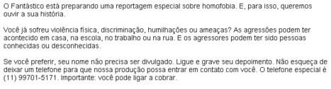Matéria sobre Homofobia no Fantástico « .:BABADO CERTO:. | Paraliteraturas + Pessoa, Borges e Lovecraft | Scoop.it