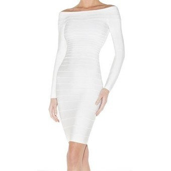 Shop Herve Leger Candice Off-The-Shoulder Bandage Dress White for cheap! | Sale Red Bottom Heels | Scoop.it