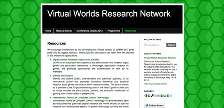Virtual Worlds Research Network: Resources | Digital Delights - Avatars, Virtual Worlds, Gamification | Scoop.it