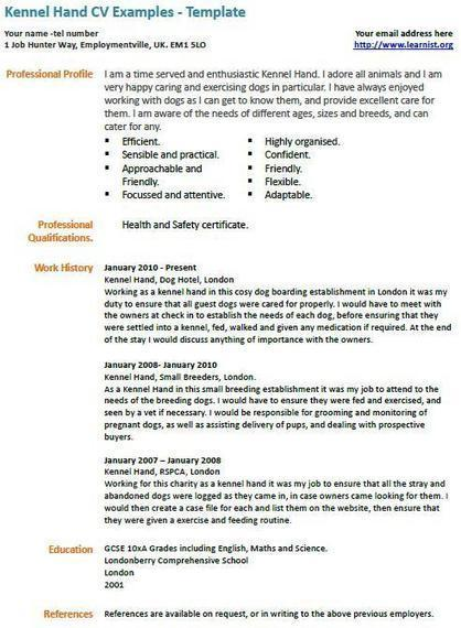 kennel assistant cv example