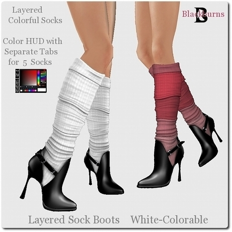 Blackburns Layered Sock Boots White Colorable by Vlad Blackburn | Teleport Hub - Second Life Freebies | Second Life Freebies | Scoop.it