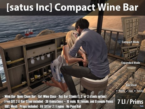 New Release: Compact Wine Bar by [satus Inc] | Teleport Hub - Second Life Freebies | Second Life Freebies | Scoop.it
