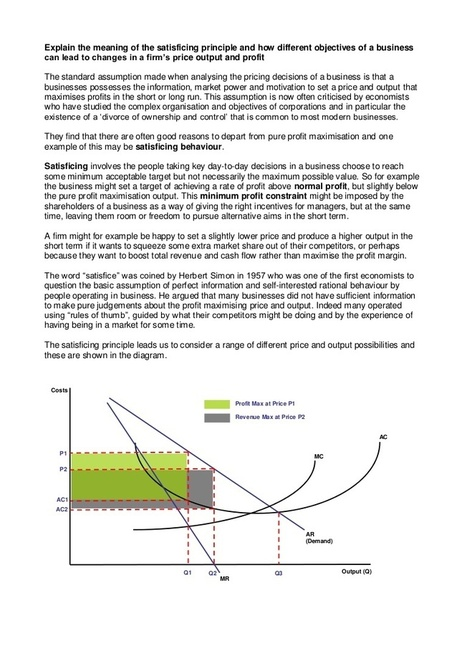 Satisficing Business Objectives | Unit 3 Micro:... | AQA Econ3 | Scoop.it