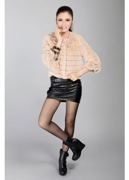 Women's Furs :: Fur Jackets :: Rabbit :: Full Skin Rex Rabbit Fur Jacket with Flower Neckline & Cuffs - | furs | Scoop.it