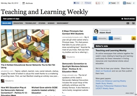 Sept 3 - Teaching and Learning Weekly is out | Studying Teaching and Learning | Scoop.it