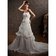 [€ 201.59] Forme Princesse Sans bretelle Traîne chappelle Organza Satiné Robe de mariée avec Plissé Motifs appliqués Fleur(s) (002000647) | fashion dress | Scoop.it