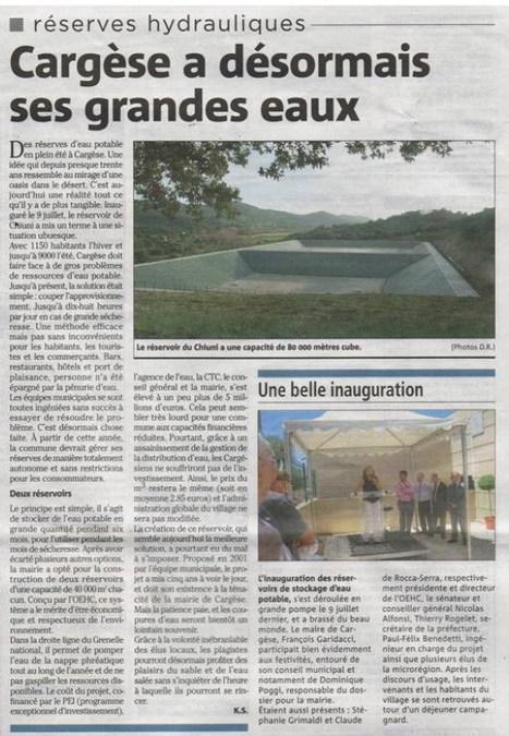 Inauguration de la réserve d'eau potable | Revue de Presse de Cargèse | Scoop.it