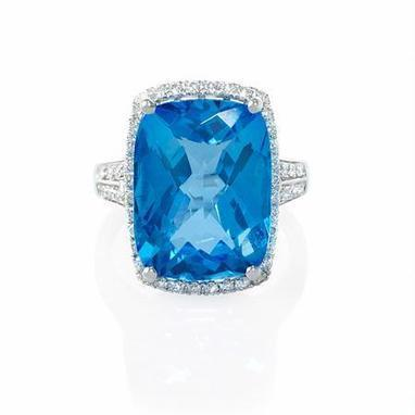 Diamond and Blue Topaz 18k White Gold Ring | Riveting Rings | Scoop.it