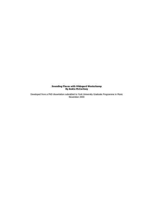 Sounding Places with Hildegard Westerkamp - Documents | DESARTSONNANTS - CRÉATION SONORE ET ENVIRONNEMENT - ENVIRONMENTAL SOUND ART - PAYSAGES ET ECOLOGIE SONORE | Scoop.it