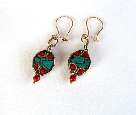 Nepal Earrings, Jewelry, Ethnic Earrings, Turquoise and Coral Earrings , Women Jewelry, Gift, Tribal , Tibet Beads , Boho Hippie Earrings | My Jewelrys | Scoop.it