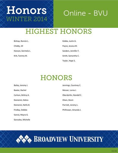 22 BVU-Online Students Earn Honors or Highest Honors During Winter Quarter | continuing education | Scoop.it