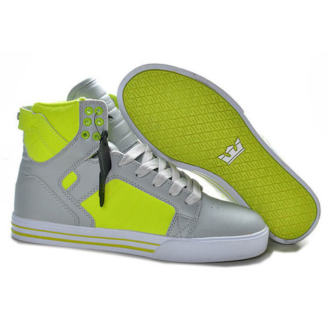 Men Grey Neon Supra Skytop High Skateboard Shoes | want and share | Scoop.it