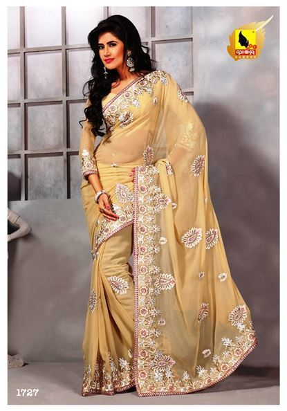 Beige color heavy embroidered party wear saree | Indian Women Clothing | Scoop.it