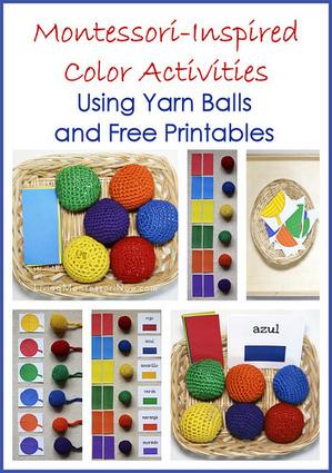 Montessori Monday – Montessori-Inspired Color Activities Using Yarn Balls and Free Printables | Montessori Inspired | Scoop.it