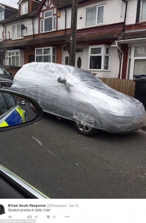 Prankster colleagues cover a factory worker's car in CLING FILM  | Strange days indeed... | Scoop.it