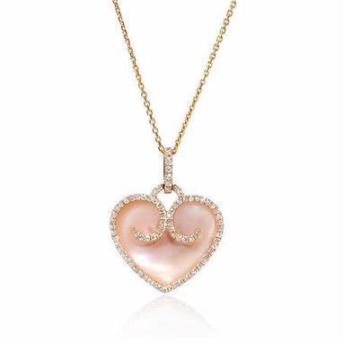 Diamond and Pink Mother of Pearl 18k Rose Gold Heart Pendant | Sumptuous Pendants | Scoop.it