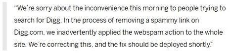 Désindexation de Digg, une erreur d'inadvertance | Référencement et Webmarketing | Scoop.it