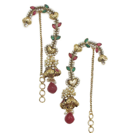 Smoke Golden ethnic loop hook earrings with red and green stones. SMER537   Online Shopping in India   Scoop.it