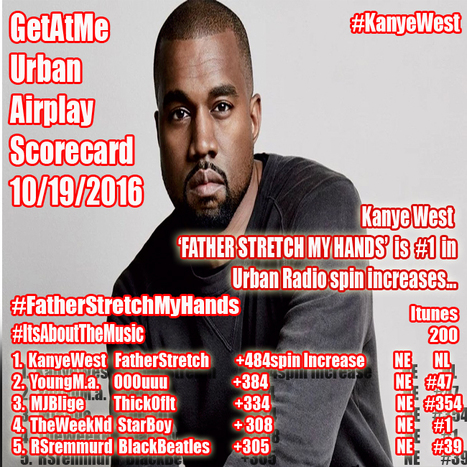 GetAtMe Urban Airplay Scorecard- Kanye West FATHER STRETCH MY HANDS is #1 in urban radio spin increases this week... (where are the itune sales?) | GetAtMe | Scoop.it