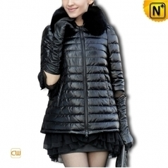 Sheepskin Leather Down Coat CW610031 | Fur Trimmed Coats | Scoop.it
