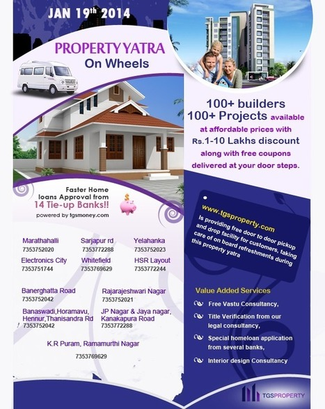TGS Property Yatra on 19Jan14: Opportunity to Buy Best Flats in Bangalore | Real Estate News | Scoop.it