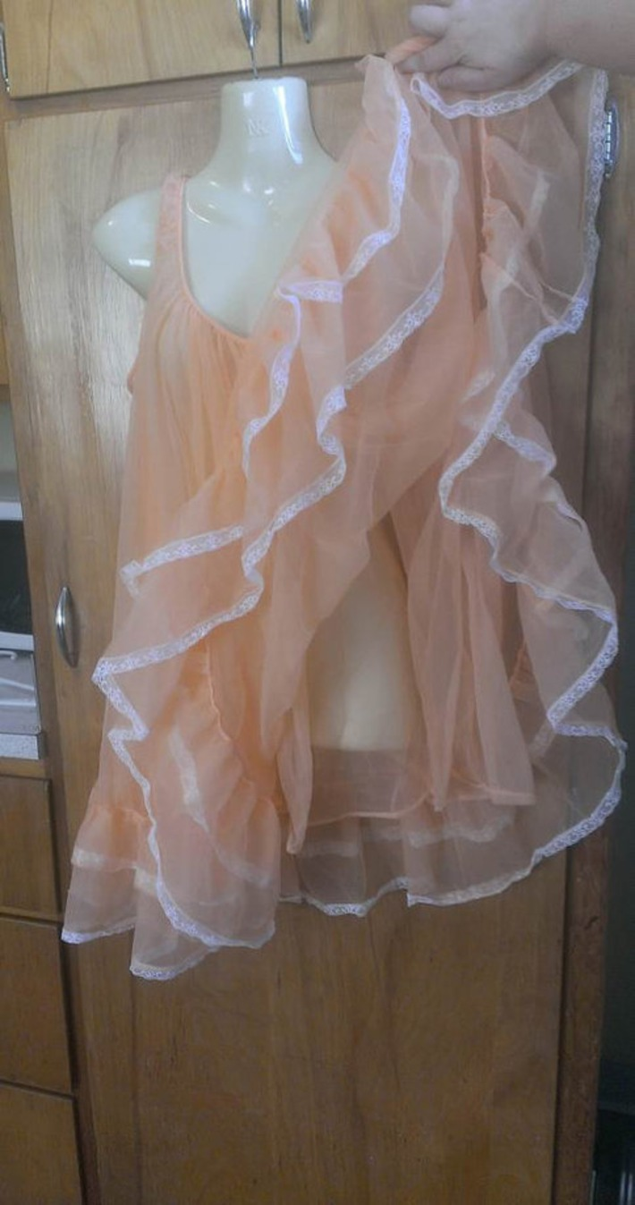 Vintage  Miss Elaine Babydoll Nightie Dual Layers Peach Chiffon with White Lace Fluffy Light Orange Cloud | Antiques & Vintage Collectibles | Scoop.it
