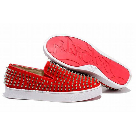 Red Bottom Christian Louboutin Roller Boat Mandarin Red Suede Spikes Mens Shoes | fashion list | Scoop.it