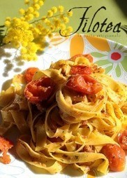 Tagliatelle with roasted Ciliegini tomatoes, Achovies and Botargo | Le Marche and Food | Scoop.it