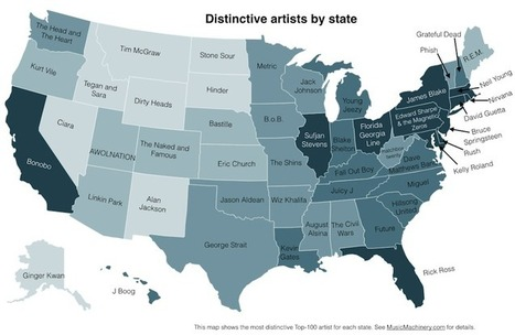 A Map of the Most Distinctive Musician In Every US State... | Digital ... | Music Education | Scoop.it