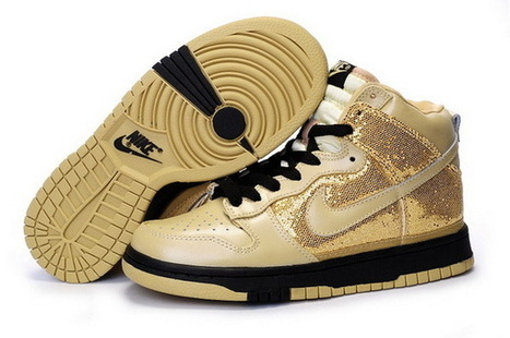 Women Nike Dunk High Top Shoes 030 Black Gold Sand | Online Shopping | Scoop.it