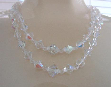Mid Century Austrian Crystal Bead Necklace / Aurora Borealis  / Bridal Wedding  / Vintage Jewelry / CIJ Sale 20% Off Coupon Code (CIJSALE1) | Vintage and Antique Jewelry & Fashion | Scoop.it