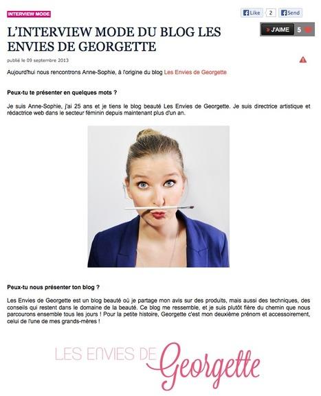 L'INTERVIEW MODE DU BLOG LES ENVIES DE GEORGETTE sur le blog de Caroline - Be.com | Revue de Presse Les Envies de Georgette | Scoop.it