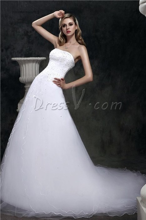 163.58 dressv.com SUPPLIES Glamorous Ball Gown Strapless Floor-length Court Beaded Dasha s Wedding Dress 1979 | Wedding and event | Scoop.it