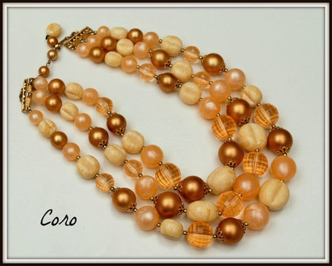 Vintage Coro Pieach Cream and Gold Triple strand bead necklace | serendipity treasures | Scoop.it