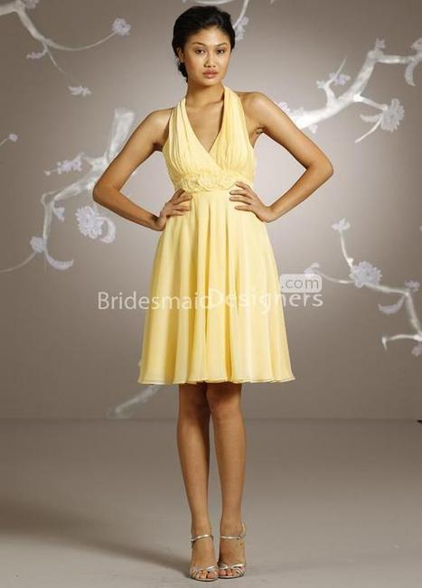 Canary Halter formal dress Neck A-line Knee Length Flower Bridesmaid Dress | Woman Wedding Dresses | Scoop.it