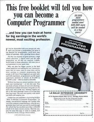 This free booklet will tell you how you can become a Computer Programmer - Saturday Evening Post (Feb, 1969) | Technolicious | Scoop.it