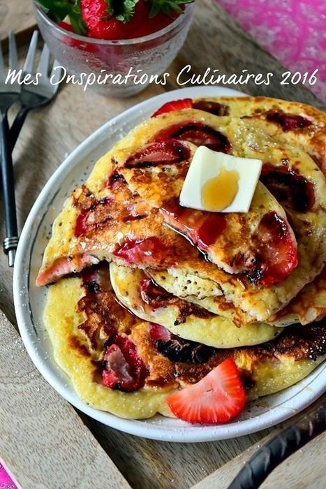 Recette Pancakes moelleux aux fraises | Desserts - Mousses - PannaCotta - glaces | Scoop.it