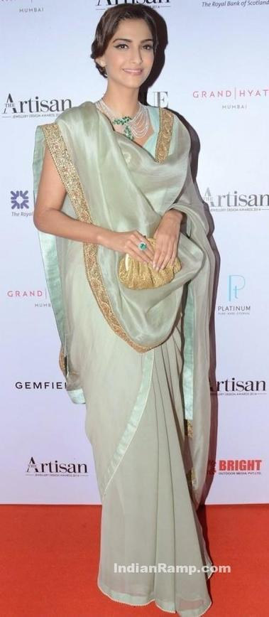 Fashionista Sonam Kapoor in Anamika Khanna with a Front Drape Saree, Actress, Bollywood, Indian Fashion | Indian Fashion Updates | Scoop.it