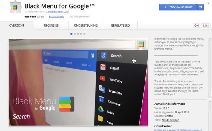 Edu-Curator: Met één klik op de knop toegang tot al je 'Google'-diensten met de 'Chrome'-extensie 'Black Menu' | Edu-Curator | Scoop.it