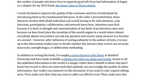 A resource for assessing the accuracy or veracity of online information - H. Rheingold | Educommunication | Scoop.it